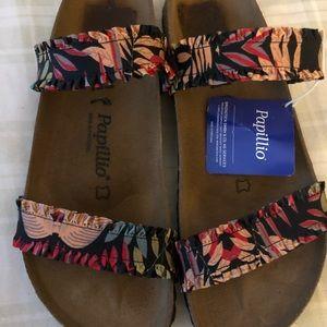 NWT two-strap floral pattern Birkenstocks